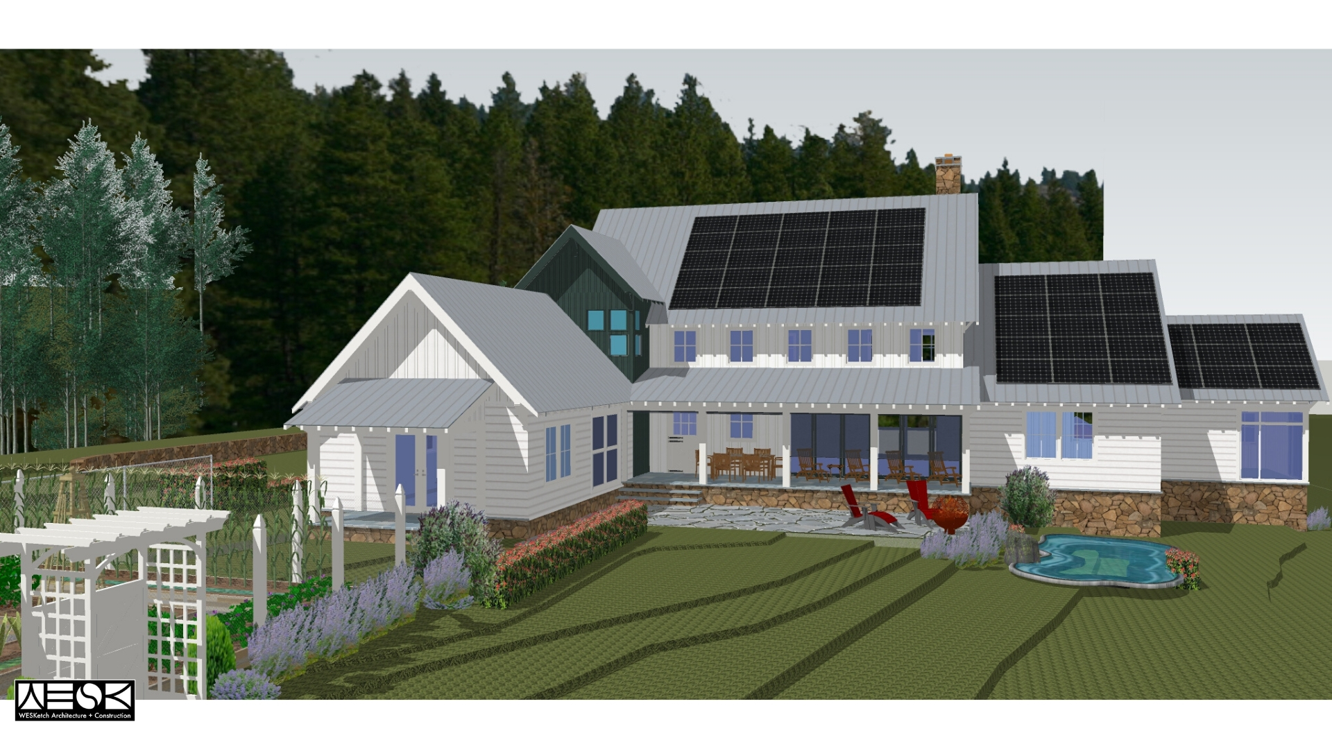 Cold Brook Farm | Rear View | WESKetch Architecture + Construction