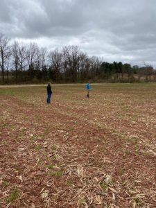 Jay Vogelaar and Jason D. in April 2020, figuring out the first cover crop to restore soil.